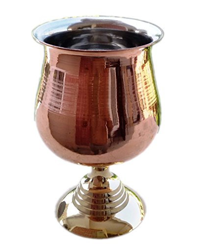 STREET CRAFT 100% Authentic Copper Moscow Mule Mug with, Copper Moscow Mule Mugs / Cups. (1, 8-Oz-Wine Glass ( Goblet ) Nickel)