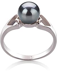 PearlsOnly - Jessica Black 6-7mm Freshwater 925 Sterling Silver Cultured Pearl Ring