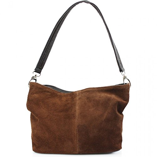 Bags Bags Leather Italian Galaxy VP57 Women Shoulder Brown Clutches Hand Ladies Hobos Linen Suede wPUq0qx