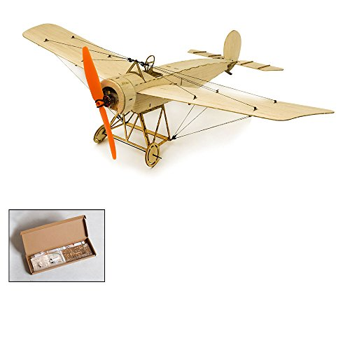 Balsa Wood Airplane Kit Micro 3CH 378mm Fokker Eindecker by DW Hobby; Remote Control Balsa Wood Laser Cut Plane Fokker E for Adults;RC Un-Assembled Flying Model for Fun (K0801)