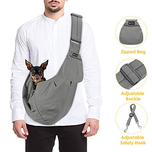 (SlowTon Pet Carrier, Hand Free Sling Adjustable Padded Strap Tote Bag Breathable Cotton Shoulder Bag Front Pocket Safety Belt Carrying Small Dog Cat Puppy Up to 16 lbs Machine Washable (Grey))