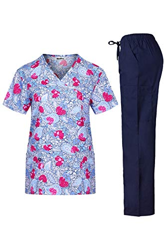 MedPro Women's Medical Scrub Set Mock Wrap Top and Cargo Pants Hot Pink White S