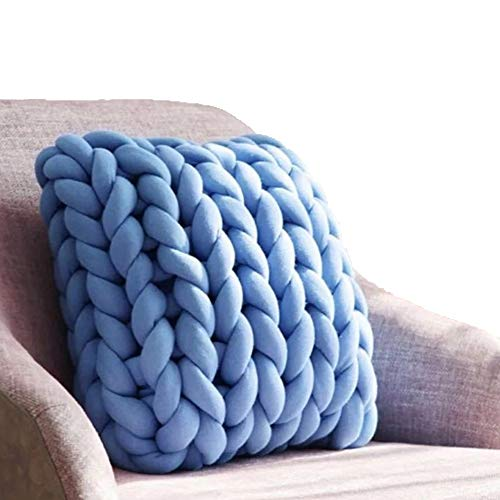 Super Chunky Yarn,Blue Cotton Braid Giant Yarn,DIY Roving Yarn,Cotton Tube Yarn,Blanket,Rug,Cat Bed,Carpet Materials,Machine Washable,4.4lbs/2kg by Chunky Cotton Yarn (Image #1)