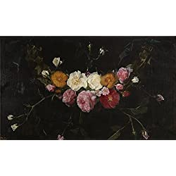 Polyster Canvas ,the Beautiful Art Decorative Prints On Canvas Of Oil Painting 'Seghers Daniel Guirnalda De Rosas 17 Century ', 12 X 20 Inch / 30 X 52 Cm Is Best For Gym Artwork And Home Decoration And Gifts