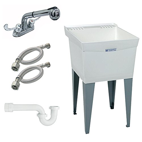 Mustee K-18F-FP Floor-Mount Laundry Tub with Pull-Out Faucet, White by Mustee