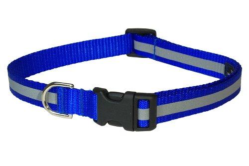 Sassy Dog Wear 18-28-Inch Reflective Blue Dog Collar, Large, My Pet Supplies