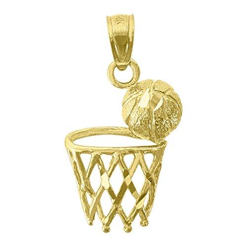 - 14kt Yellow Gold Mens Basket Ball Sports Pendant Charm