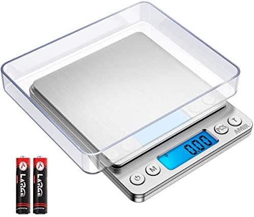 AMIR Upgraded Digital Kitchen Scale, 500g-0.01g Mini Pocket Jewelry Scale, Cooking Food Scale, Back-Lit LCD Display, 2 Trays, 6 Units, Auto Off, Tare, PCS, Stainless Steel (Batteries Included)