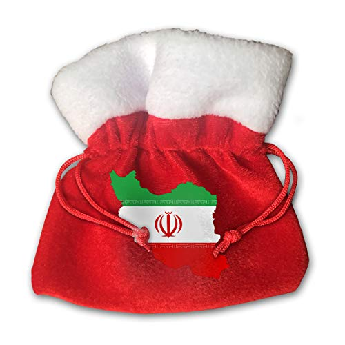 CYINO Personalized Santa Sack,Iran Grandeur Flag Map Portable Christmas Drawstring Gift Bag (Red)]()