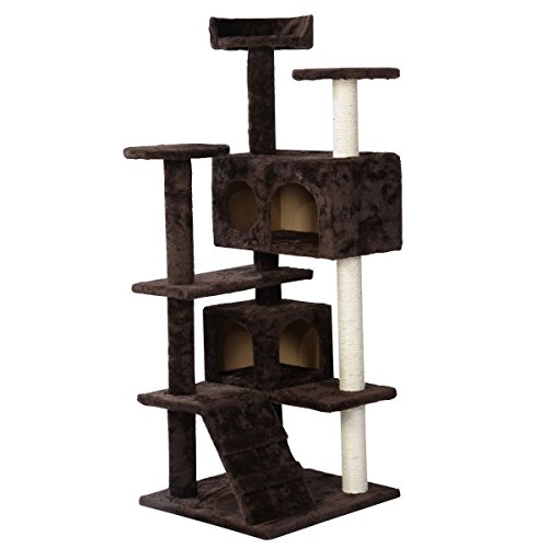 """Brown 52"""" Toy Funiture Cat Condo Tower Scratch Kitten Pet House Tunnel Cat Tree for Pet Indoor Playground"""
