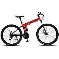 MACCE 21 Speed Folding Mountain Bike, Spoked Wheel 26 Inch, Red
