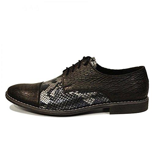 PeppeShoes Modello Serpente - Handmade Italiennes Cuir Pour des Hommes Argent Chaussures Oxfords - Cuir de Vachette Cuir Souple - Lacer