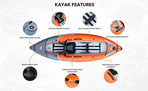 Driftsun Rover 120 Inflatable White-Water Kayak with High Pressure Floor and EVA Padded Seats with High Back Support, Includes Action Cam Mount, Aluminum Paddles, Pump and More