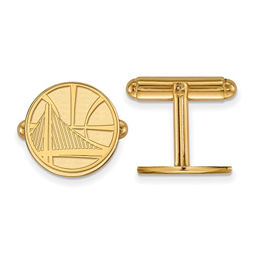 NBA Golden State Warriors Cuff Links in 14K Yellow Gold by LogoArt