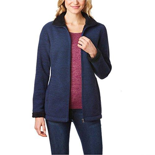 Sherpa Lined Fleece - Ladies Sherpa Lined Fleece Jacket, Deep Blue Space Dye, Medium