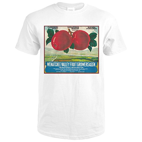 Wenatchee Valley, Washington Apple - Vintage Label (Premium White T-Shirt X-Large) (Apple Label Washington)