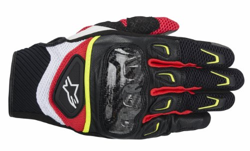 Alpinestars SMX-2 Air Carbon Men's Street Motorcycle Gloves - Black/White/Yellow/Red / 2X-Large