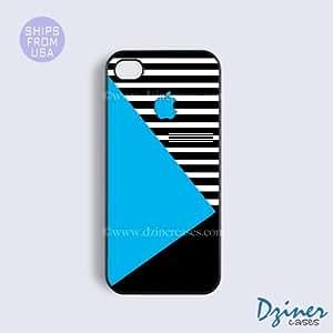 LJF phone case ipod touch 5 Tough Case - Blue Black White Geometric iPhone Cover