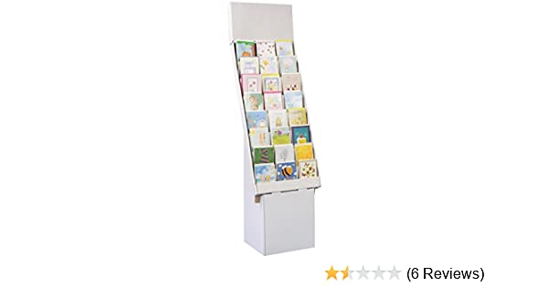 4 Tier White Stand-Store 12 Inch Cardboard Greeting Card Display Stand Tops CD