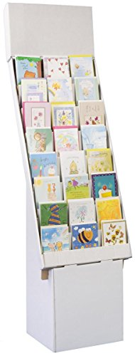Set of 3, Greeting Card Rack with 8 Display Tiers, Removable Header, Easy Setup, Floor-Standing POP Display Stand - White Corrugated -