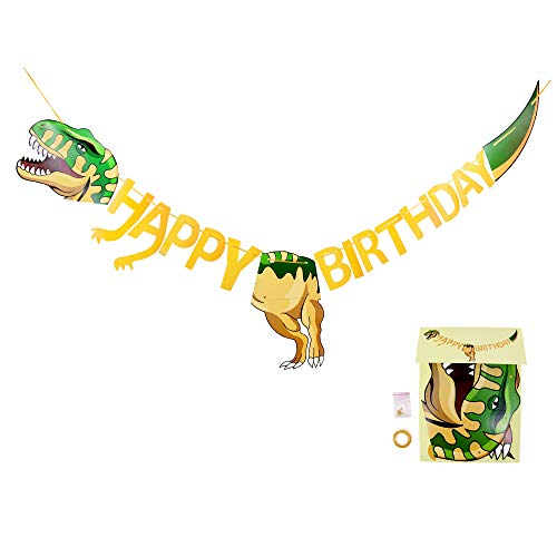 BeeGreen Dinosaur-Party-Supplies-Happy-Birthday-Banner Decorations Jurassic World Dino Parties Banners for Boys Kids Girls