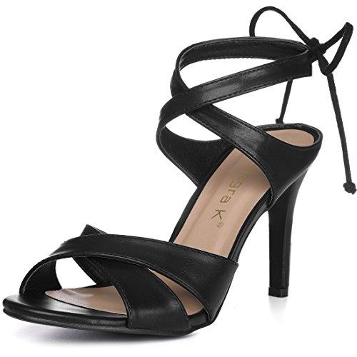 Caviglia Fascette Incrociato 8 Legatura Stiletto K Sandali Nero US Donne Allegra qxXtwEaHq
