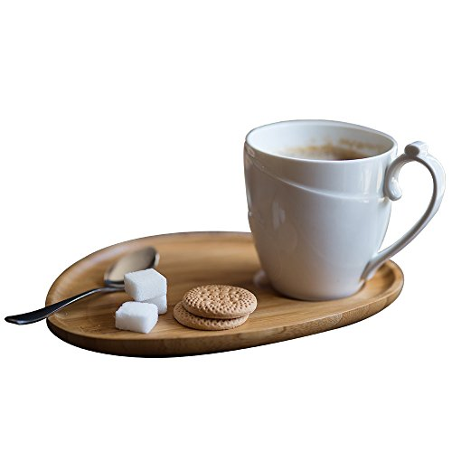 DOKEFUL Coffee Mug Set with bamboo tray and Spoon Plate for Fruit Salad Cake Bread Cookies Breakfast Afternoon Tea Milk Chocolate Drinkware
