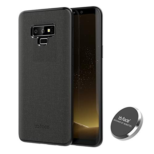 Fabric Back Cover - bb face Samsung Galaxy Note9 Case with Magnetic Back Anti-Scratch Plastic Grip Cover for Note9 6.4 inch-Black
