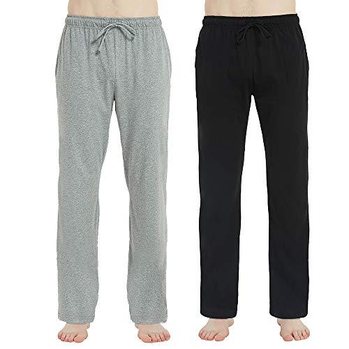 - U2SKIIN Mens Cotton Pajama Pants, Lightweight Lounge Pant with Pockets, Soft Sleep Pj Bottoms for Men (Black & Light Grey Mel, M)