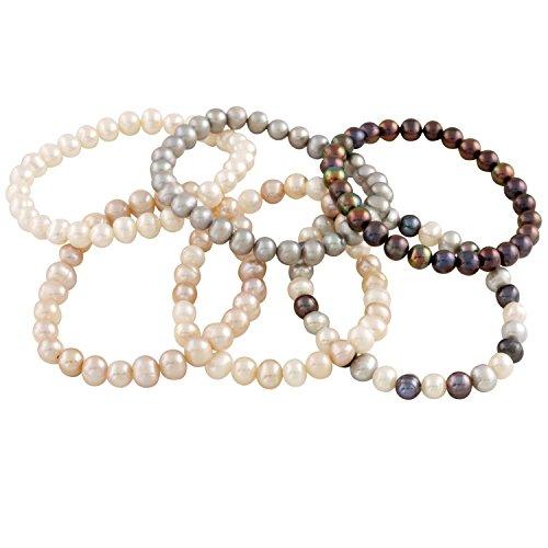 Bracelet Bella Pearls Set of 6Multi–Coloured Freshwater Pearl Elastic Bracelet of Length 18cm [parallel import goods] ()