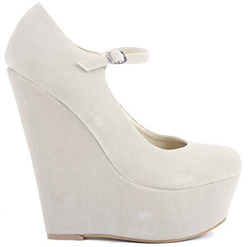 Ladies Womens Smart Pumps Court Wedge Shoes Wedges High Heel Platform Classic Size Beige Faux Suede 2O4O7wA6