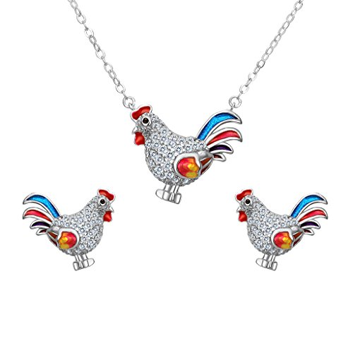 EVER FAITH Women's 925 Sterling Silver CZ Colorful Enamel Rooster Animal Necklace Stud Earrings Set (Animal Silver Jewelry Set)