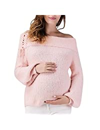 BOLUOYI 2019 Women Maternity Pregnancy Knitted Sweater Tops Lace Up Wrap Knitting