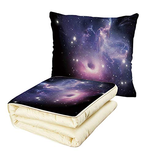 iPrint Quilt Dual-Use Pillow Space Decorations Black Hole in The Nebula Gas Cloud in Outer Space Universe Astro Solar System Print Multifunctional Air-Conditioning Quilt Navy Purple by iPrint