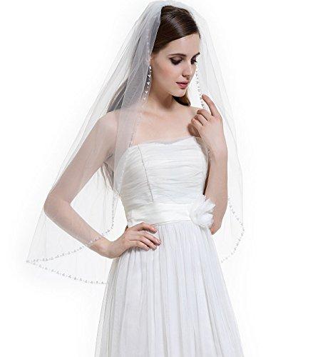 BEAUTELICATE 1T Bridal Wedding Veil with Comb Pearls Rhinestones Edge Fingertip - Veil Sheer