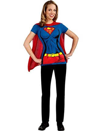 Female Superhero T-Shirt Adult Costume Supergirl - Large  sc 1 st  Amazon.com & Amazon.com: Female Superhero T-Shirt Adult Costume Supergirl - Large ...