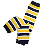 Kids/Baby/Toddler/Infants Black, Yellow and White Team Striped Leg Warmers