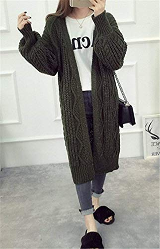 Básicos Adelina Vintage Niña Largo Outerwear Largos Casuales Moda Abrigos Sweater Pullover Tejido Elegantes Ropa Mujer Otoño Grün Primavera Abrigo Relaxed Manga Abierto Twrq4xTSn