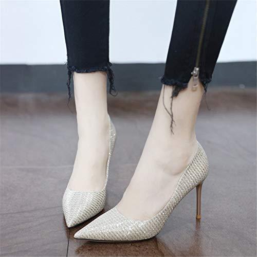 YMFIE Europa Temperamento Zapatos Aguja Sexy Tacones otoño 38 de Zapatos de de Mujeres Punta de 39 Primavera Moda y Plana UE tacón Banquete Las con de de EU Altos r0qHwr