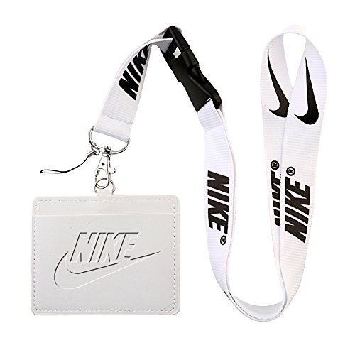 (Nike White Faux Leather Business ID Badge Card Holder with Keychain Lanyard)