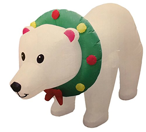 8' Bear (Inflatable Polar Bear 8 Feet Wide Christmas Airblown Yard Decoration With Turning Head - Face Moves From Side to Side, Indoor/Outdoor 3 Feet Tall)