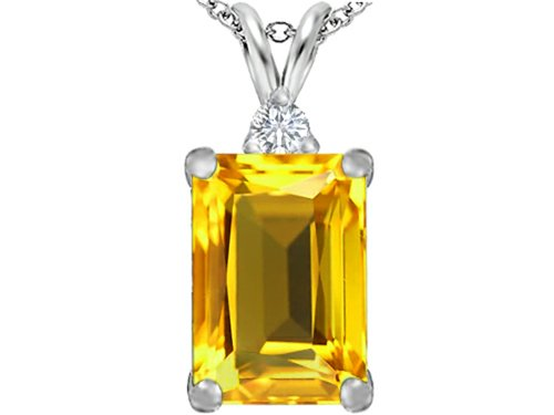 Star K Large 14x10mm Emerald Cut Simulated Citrine Pendant Necklace Sterling Silver ()