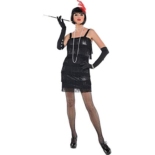 Amscan Adult Flashy Flapper Costume - X-Large (14-16), Black -