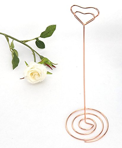 NX Garden 20 Pack 8.75 Inch Tall Place Card Holders Creative Photo Holder Chrome Plated Rose Gold Metal Funny Heart Clip Desktop Decoration Memo Holder Stand Tabletop Card Holder