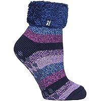 Heat Holders Warm Winter Thermal Lounge Socks (Navy/Lilac Stripe)