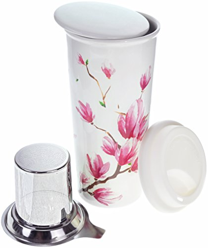 16oz Ceramic Travel Mug With Lid Magnolia Double Walled