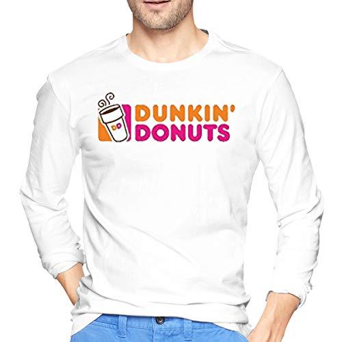 Re-emerwm Men's Doughnut Dunkin' D Leisure T-Shirt Long Sleeve White ()