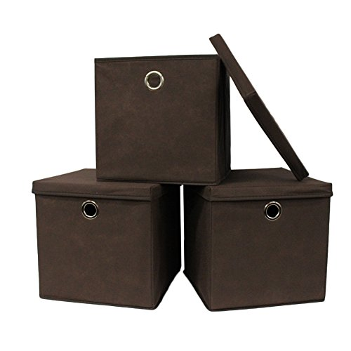 Pezin & Hulin Set of 3 Foldable Storage Bin with Lid, Cube Basket Box, Fabric Storage Organizer Box for Cloth, in Home,Cabinet, Shelves, Dormitory etc, Eco-Friendly Cloth with Metal Handle (Brown) ()