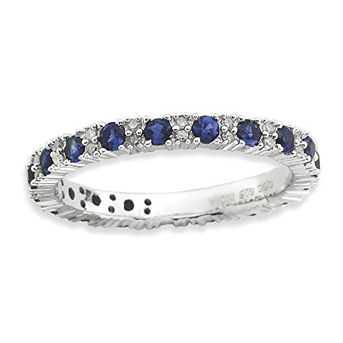 Sterling Silver Stackable Expressions Polished Cr. Sapphire & Dia Ring Size 6 by Jewels By Lux