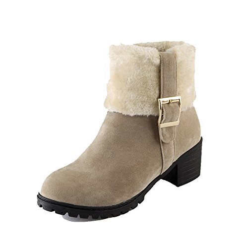 AgooLar Women's Frosted Kitten-Heels Round-Toe Assorted Colors Zipper Boots Beige VjTsZrb